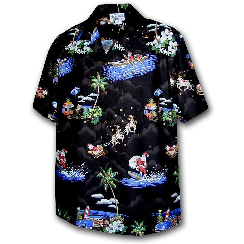 Santa Comes to Hawaii Black Hawaiian Shirt