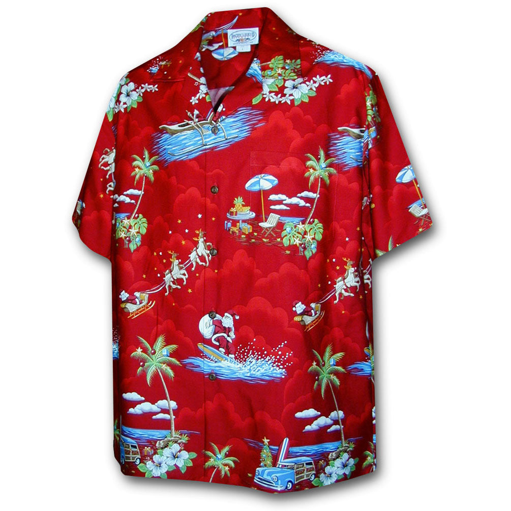 Santa Comes to Hawaii Red Hawaiian Shirt