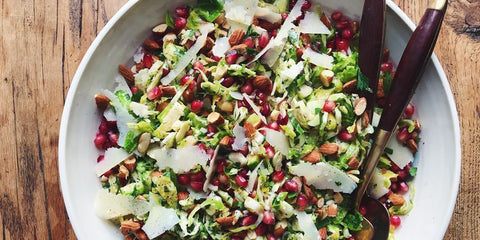 Parmesan Brussel sprouts and chicken salad