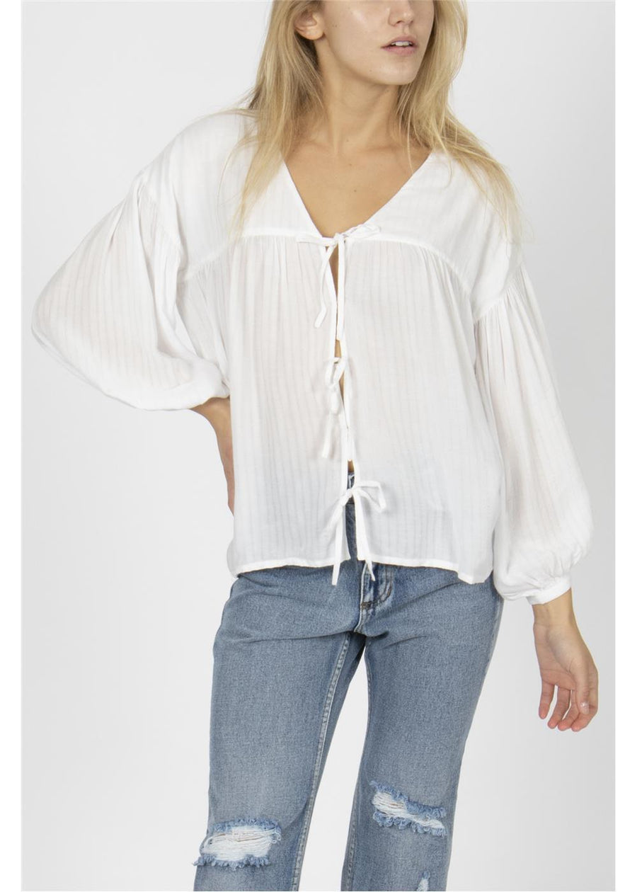 LOCAL FAVORITE LONG SLEEVE WOVEN TOP-CBL