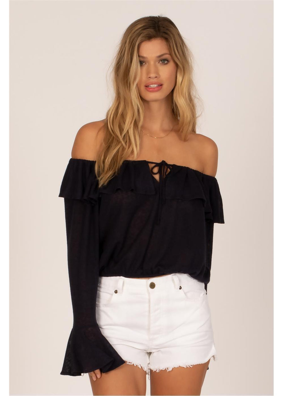 BELLA BABE  SHOULDER L/S KNIT TOP-INK