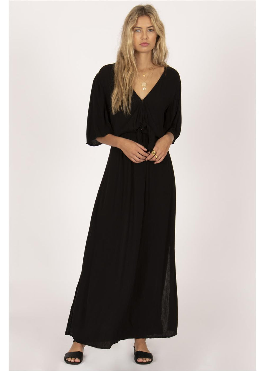 LEMONGRASS WOVEN MAXI DRESS-BLK