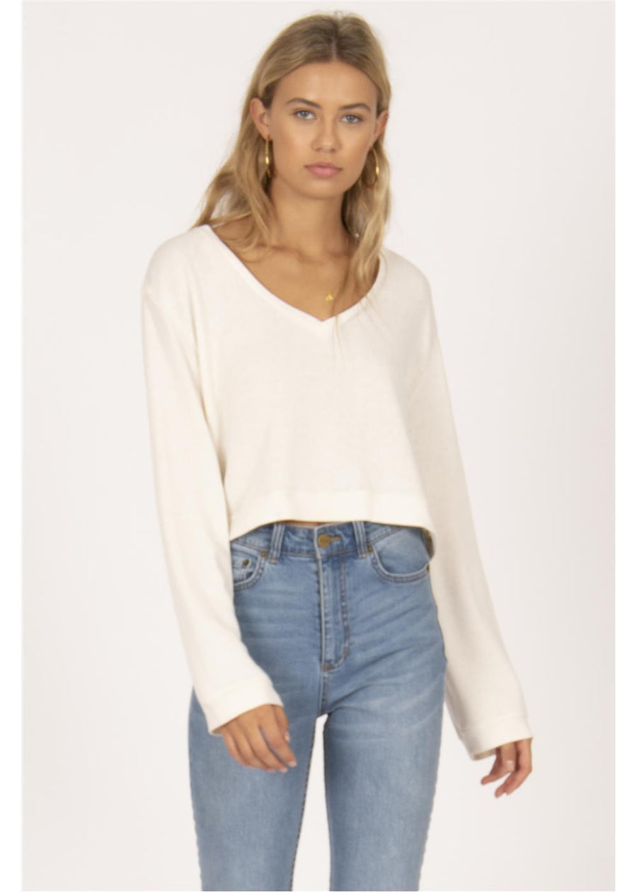 COCONUT GROVE CROPPED LS KNIT P/O-VWT