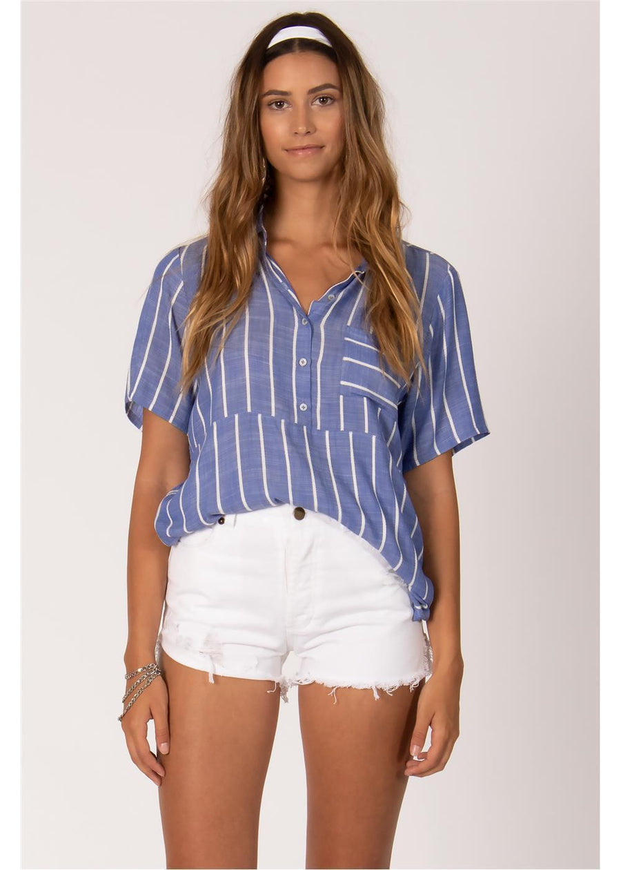 STRIPED OUT S/S TOP-DEN