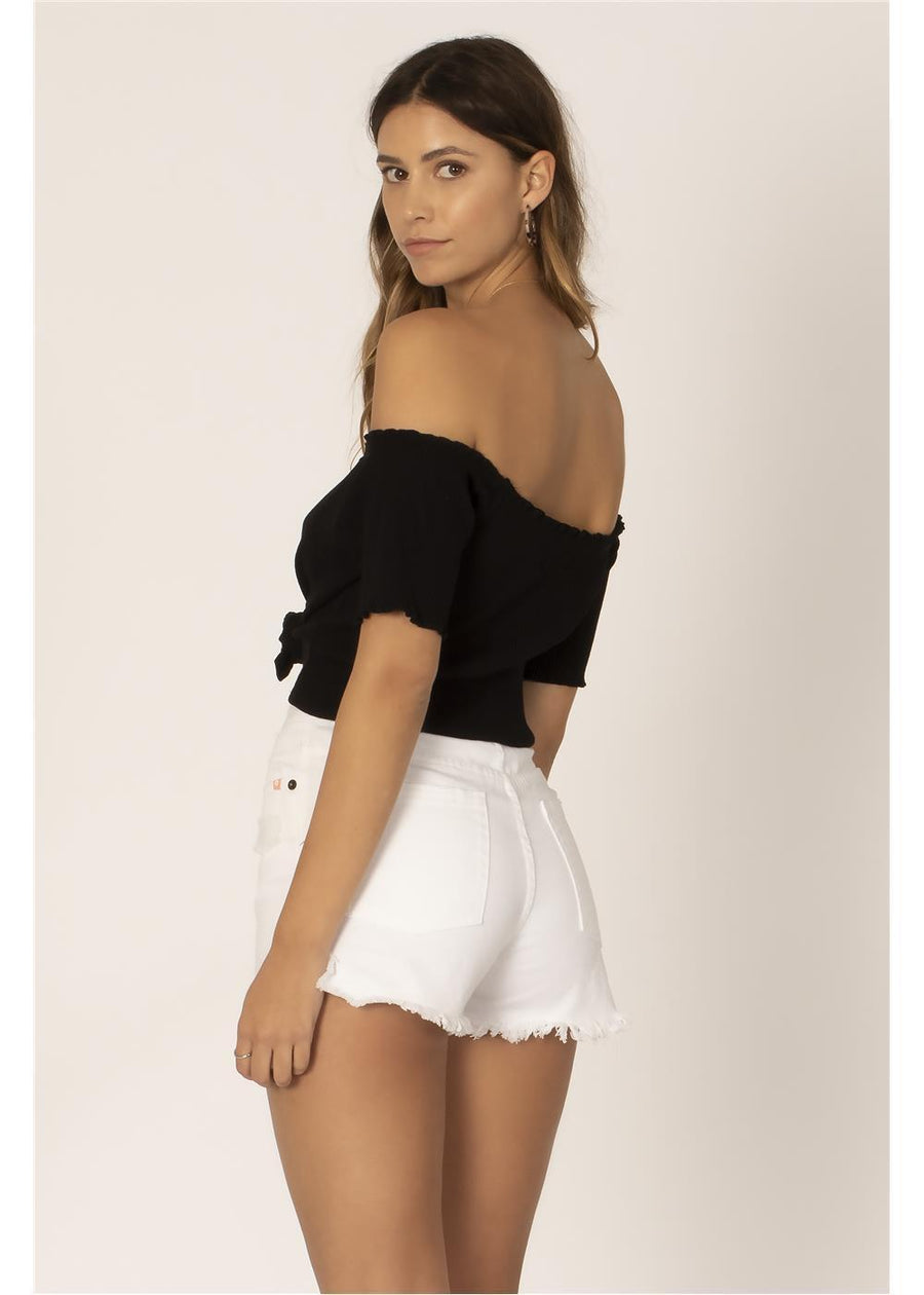 ALL THE FRILLS S/S KNIT TOP-BLK