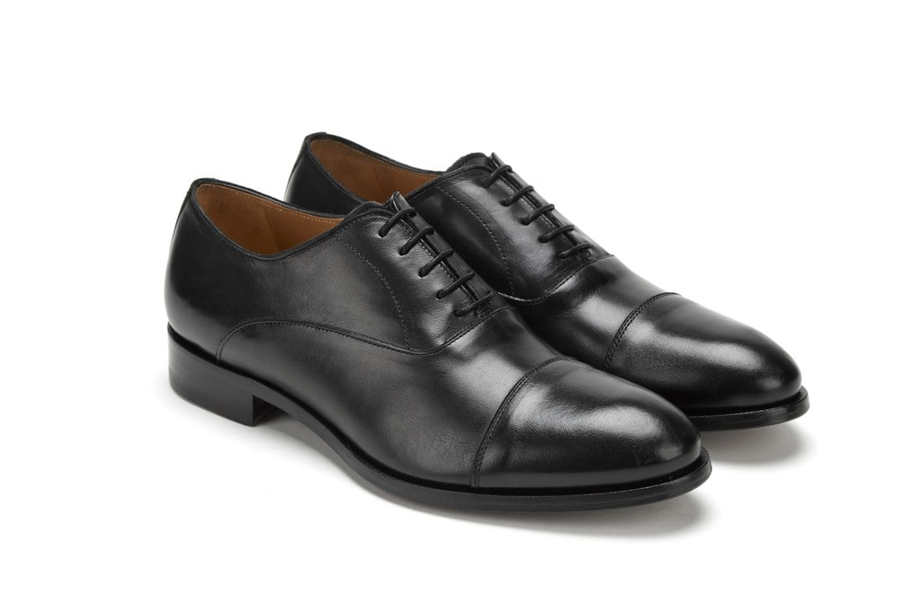 Full Grain Leather Cap Toe Oxford Black Formal Men Shoes