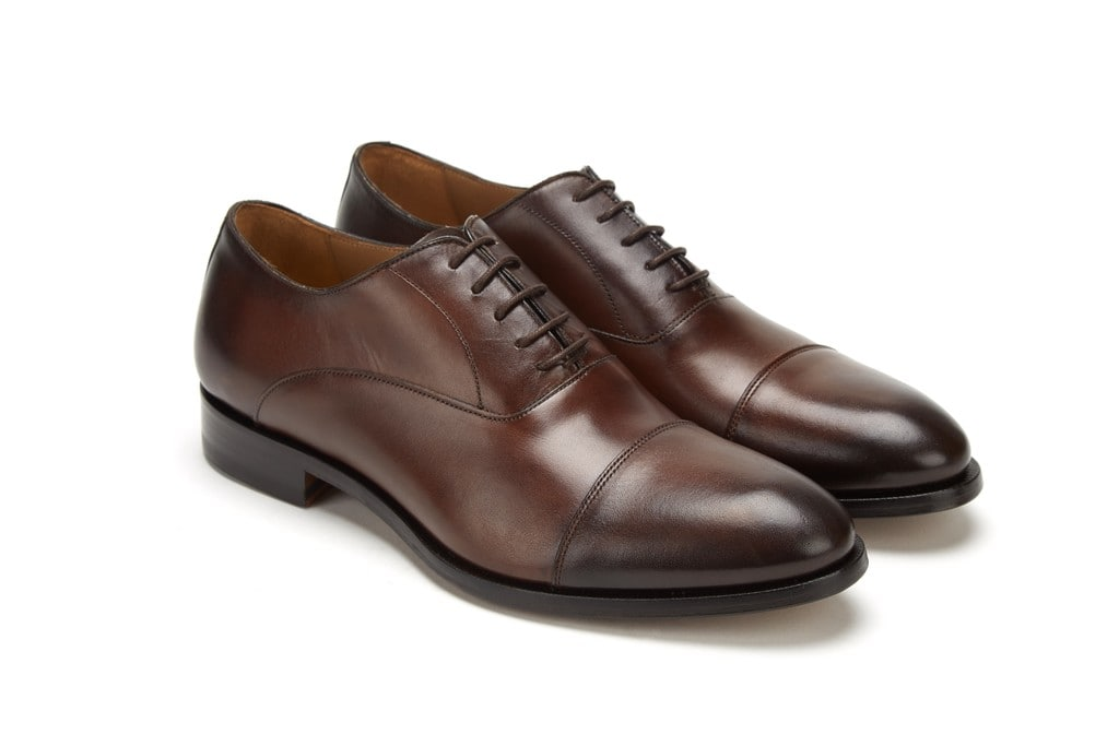 Full Grain Leather Cap Toe Oxford  Brown Business Men Shoes