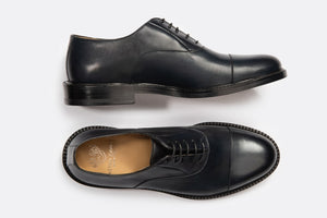 Full Grain Leather Cap Toe Oxford Blue Smart Formal Men Shoes