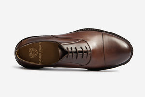 Full Grain Leather Cap Toe Oxford Brown Smart Formal Men Shoes