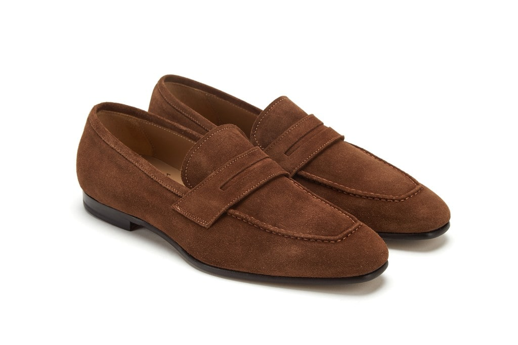 Suede Leather Light Brown Penny Loafer Dressy Casual Men Shoes
