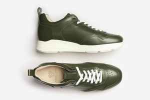 Polished Leather Sneakers Green Casual Men Shoes