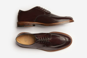 Polished Leather Split Toe Derby Brown Formal Men Shoes