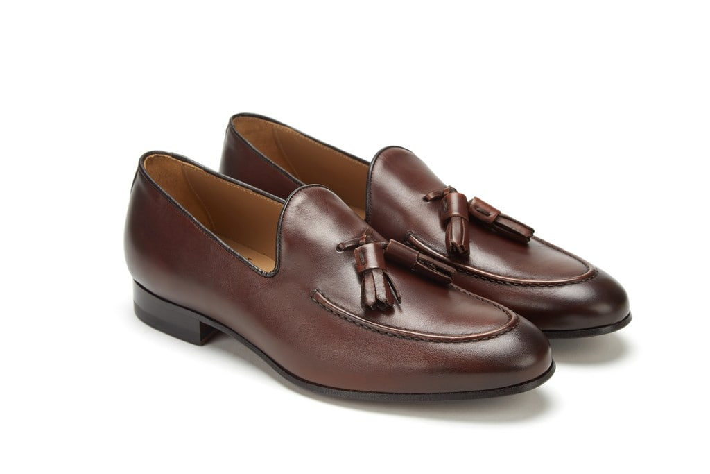 Full Grain Leather Tassel Loafer Dark Brown Dressy Men Shoes