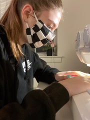 Natalie sewing in About Us at Natalie's Masks