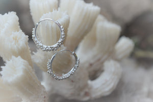 Small Silver Hoop Earrings with granulation