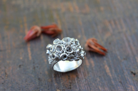 Chunky Coral Reef Ring. Size Q.