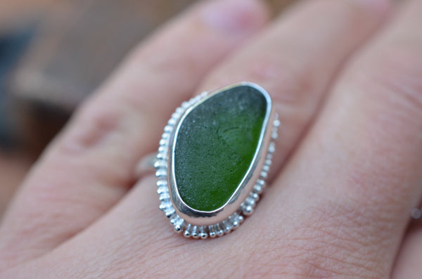 Sea Glass Ring. Size P.