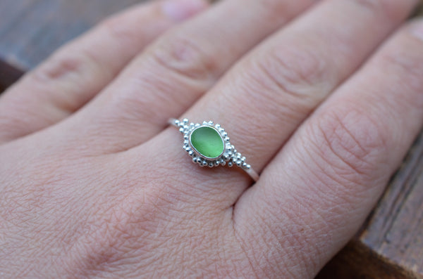 Ring with Green Sea Glass, Size Q-R.