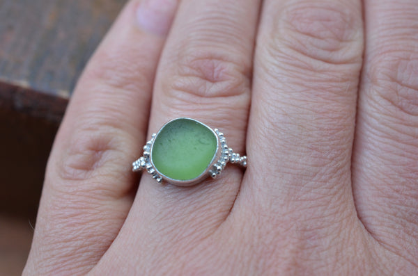Sea Glass Ring. Size N.