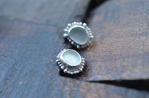 Stud Earrings with Sea Glass