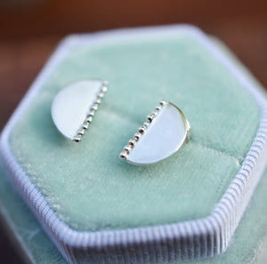Silver half moon/half circle, minimalistic stud earrings with granules