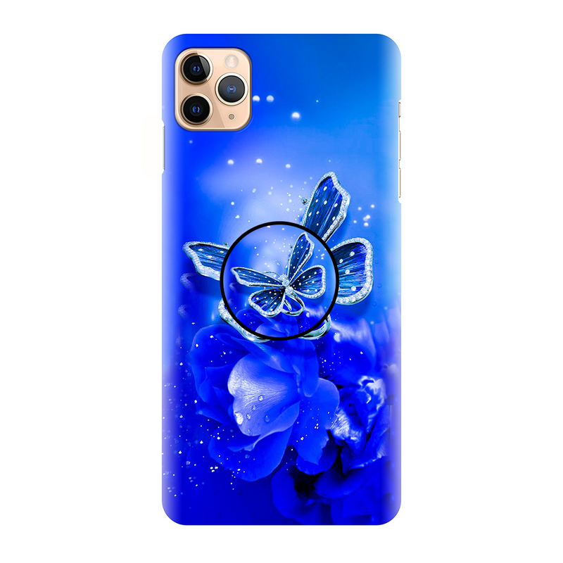 Blue Beautiful Butterfly Flower Printed Back Cover