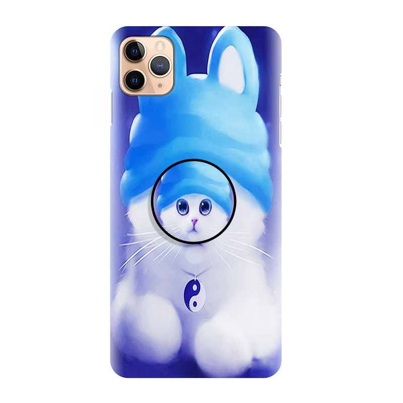 Blue Cute CatPrinted Back Cover