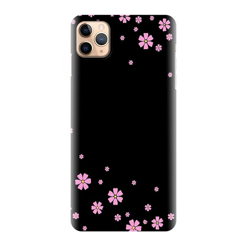Black Beautiful Flower Pattern Printed Back Cover