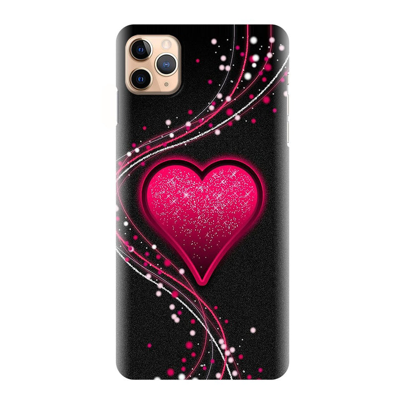 Black Fancy Heart Printed Back Cover