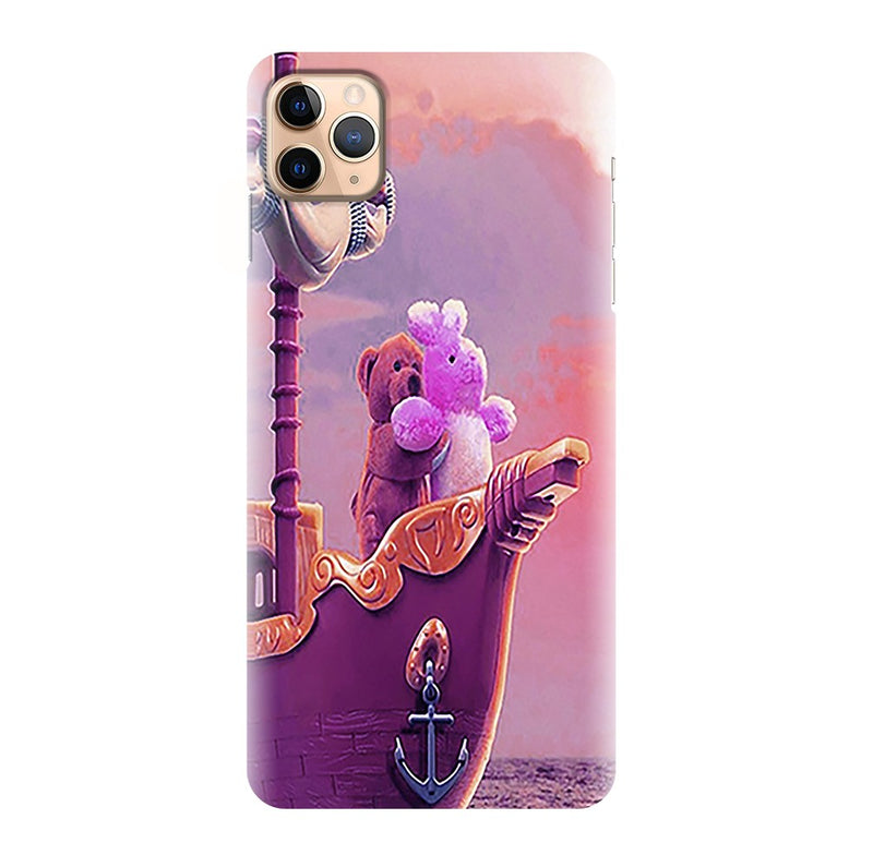 Purple Cute Teddy Nature Printed Back Cover
