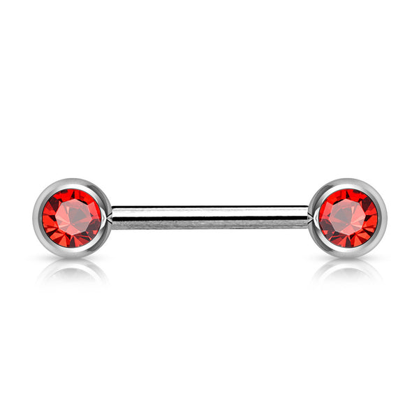 Nipple Barbell with Double Front Facing Press-Fit Gem Ball Tips