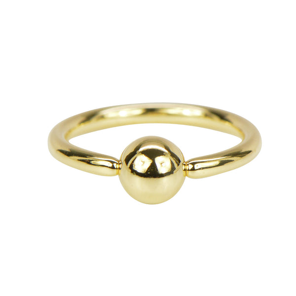 14k Solid Yellow Gold Captive Bead Ring
