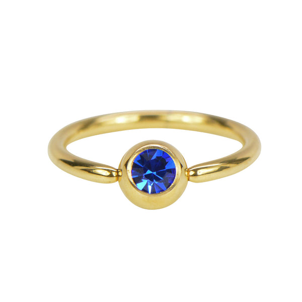 Gold Captive Bead Ring with Press-Fit Gem Ball