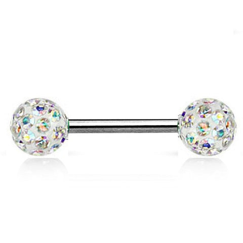 Nipple Barbell with Crystal Ball Tips