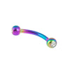 Curved Barbell with Clear Press-Fit Gem Ball Tips