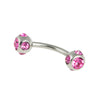 Steel Curved Barbell with Multi-Gem Ball Tips