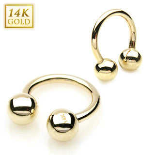 14k Solid Yellow Gold Circular Barbell with Ball Tips