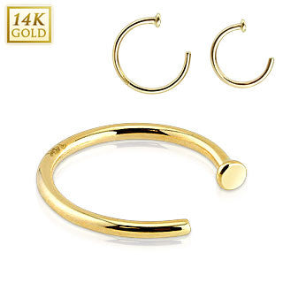 14k Solid Yellow Gold Nose Hoop