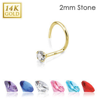 14k Solid Yellow Gold Nose Screw with Prong-Set Gem Tip