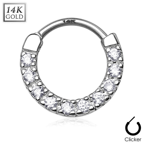 14Kt Solid White Gold - Round Ten CZ Gem Septum Clicker