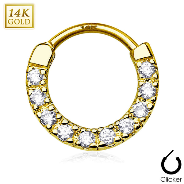 14Kt Solid Yellow Gold - Round Ten CZ Gem Septum Clicker
