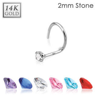14k Solid White Gold Nose Screw with Prong-Set Gem Tip