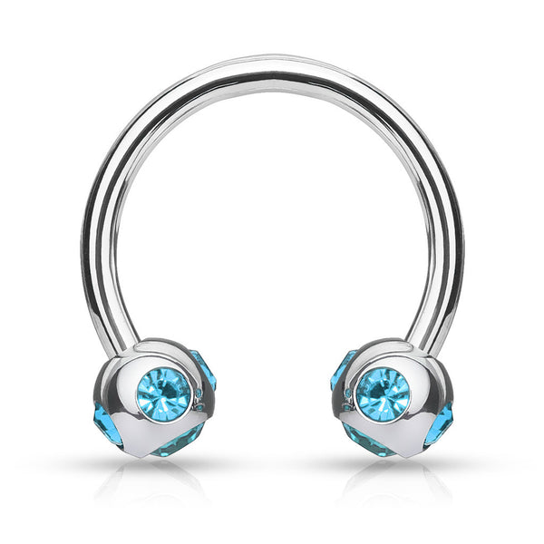 Steel Circular Barbell with Multi-Gem Ball Tips