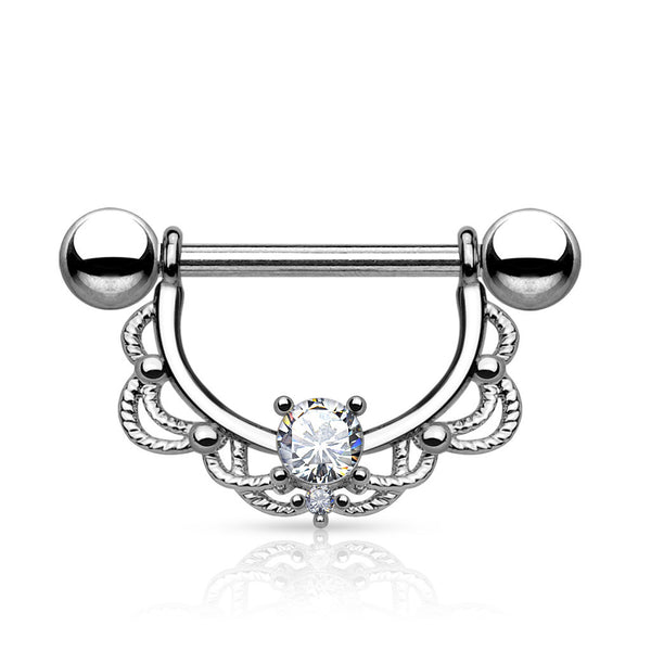 Nipple Barbell with Clear CZ Centered Filigree Dangle