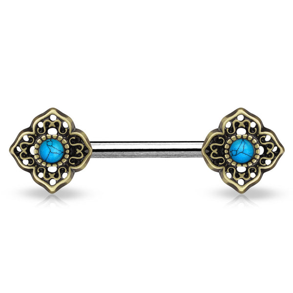 Nipple Barbell with Turquoise Centered Tribal Flower Tips