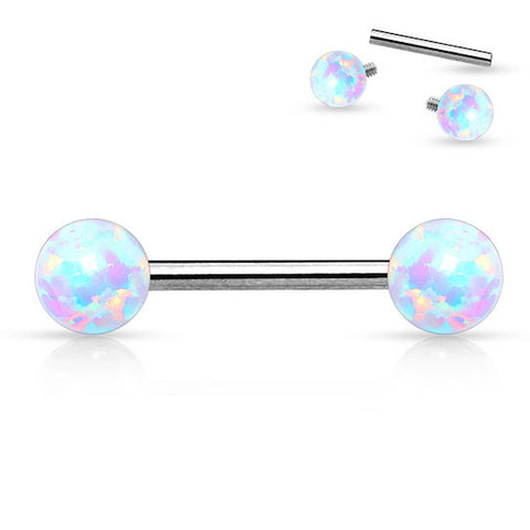 Nipple Barbell with Opal Ball Tips
