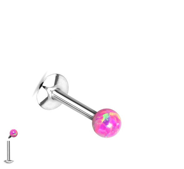 Flat Back Stud with Internally Threaded Synthetic Opal Ball Tip