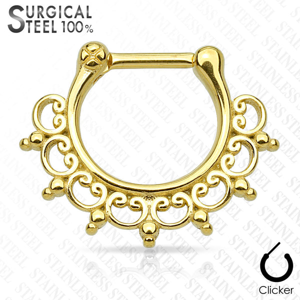 Tribal Lace Solid Steel Septum Clicker