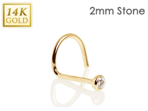 14k Solid Yellow Gold Nose Screw with Press-Fit Gem Tip