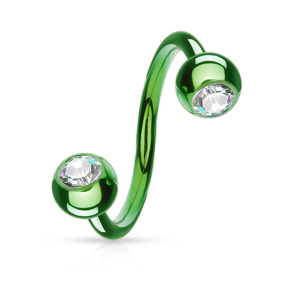 Circular Twist with Clear Press-Fit Gem Ball Tips